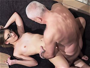 grandfather gets sausage deep throated and moist stellar tiny dame