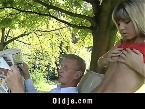 insatiable platinum-blonde entices elder man to drill