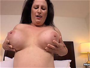 hefty congenital boobs cougar gets hardcore humping