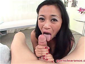 chinese dicksucker tongues culo And masturbates Out jism