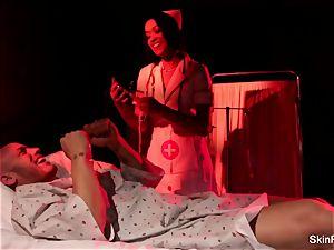 Behind the vignettes with sexy nurse flesh Diamond