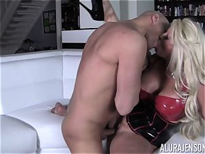 mischievous Alura Jenson flashes her spouse a new side of her