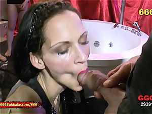 bony dark-haired extreme pee lover - 666Bukkake