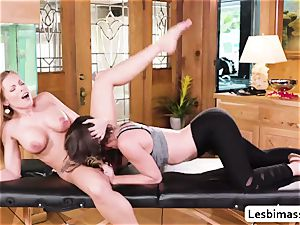 Britney Amber and Jade Nile amazing scissor sex and climax