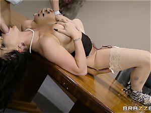 horny dark haired Romi Rain ravaged in her tight slit