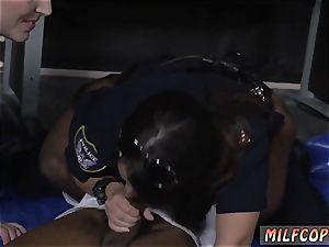 ebony dark-hued cat and slim Cheater caught doing misdemeanor break in