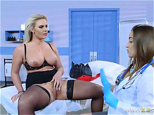 mischievous patient Phoenix Marie all girl bang with Dani Daniels