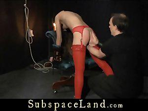 Tina Blade rump flogged in voluptuous crimson underwear