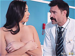 doc treats her significantly phat boobs with respect
