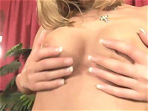 Pretty Victoria shine playing with a giant crimson dildo