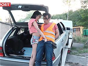 LETSDOEIT - teenager bangs older fellow For Free Car Repair