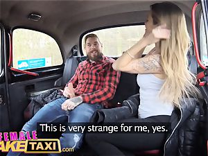 dame fake cab sexy Englishman pays in jizm