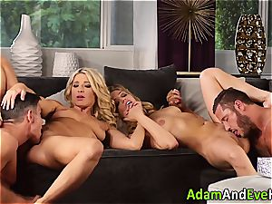 glamour duo and jizz exchange with steamy blondes