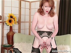 huge-titted red finger bangs coochie in garter nylons and pumps
