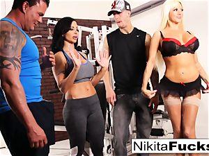 Nikita Von James joins a exercise hump
