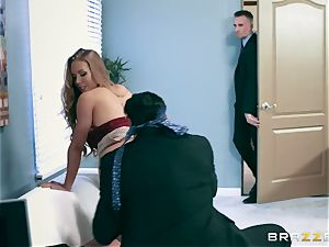 Office whore Nicole gets her hungry fuck-hole double poked