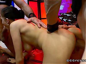 stunning dark-haired slut nicole luvs group sex with big boners