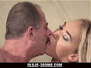 two Virgins leap on grandfather manmeat And penetrates His Brains Out