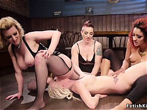 In dyke bar blondie sapphic gets group assfuck