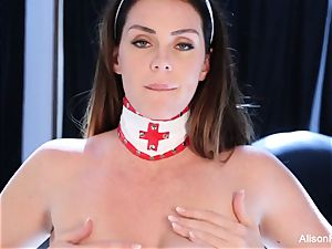 busty nurse Alison playthings her wet fuckbox
