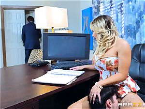 Cali Carter plumbed throughout her desk