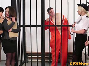 CFNM police female domination milking off prisoner