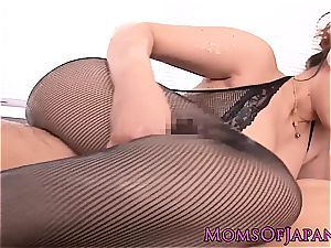 japanese milf creampied after oily rubdown