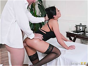 huge-chested therapist Audrey eases patient's tight muscle