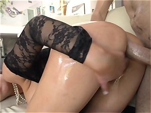 Abbey Brooks lubricated up and analled