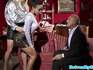 Bigtitted prostitutes jizz-swapping after triosex