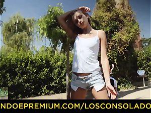 LOS CONSOLADORES - hot blondes share rigid man rod in 3