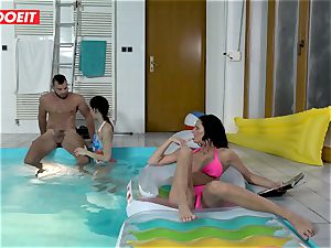 LETSDOEIT - son-in-law romps StepMom And sista At The Pool