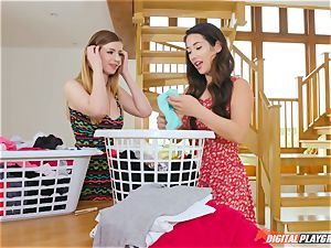 pussy fumbling ultra-cute Eva Lovia and Stella Cox messing in the laundry