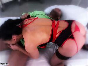 uber-sexy babe Aletta Ocean is eating a ebony sausage like a monster noodle