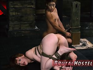 harsh first-timer He chains up lil black nubile Kendall and makes her witness her redheaded