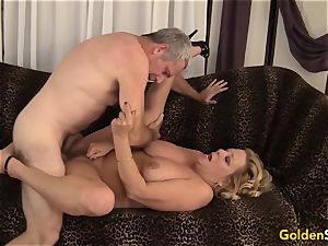 grandmother takes a hefty rod and cum in her gullet