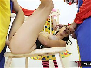 Dana Vespoli poked by creepy humungous manmeat clowns