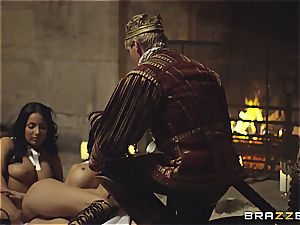 Alluring Anissa Kate and Jasmine Jae conform the king's will and meatpipe